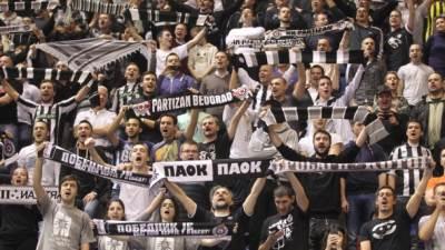Navijači Partizana Grobari na utakmici Evrokupa protiv Lijetuvos Ritasa