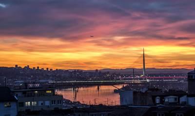 zalazak sunca, nebo, crveno nebo, beograd, most na adi
