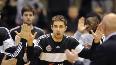 Milenko Tepić košarkaš Partizana na predstavljanju pred meč