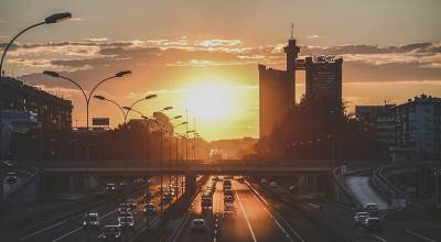 autoput, geneks, beograd, zalazak sunca, sunce, zalazak, novi beograd, kapija beograda,