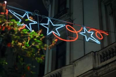 ukrana rasveta, ukrasi, rasveta, novogodišnja rasveta, beograd, knez mihailova, noć