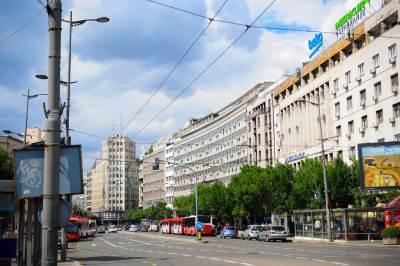 terazije, ulica, centar, beograd, zgrade, nebo, palata albanija