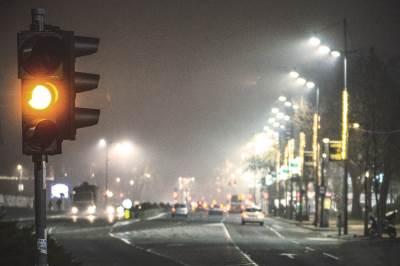 semafor, žuto, žuto svetlo, ulica, saobraćaj, beograd, bulevar kralja aleksandra, bulevar, magla, grad, kola, automobili,