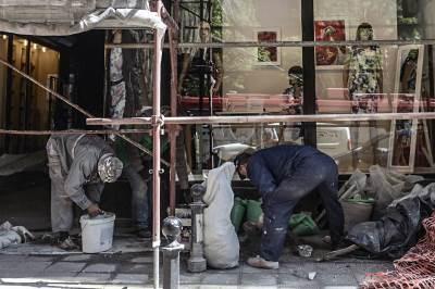 radovi, radnici, fasada, fasade, zgrade, skela, skele, obnova, rekonstrukcija,