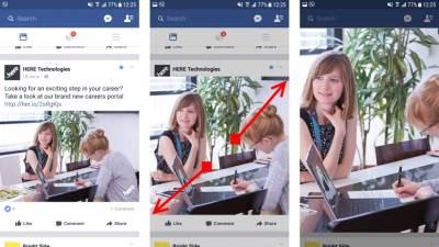 Zumiranje slika u Facebook aplikaciji