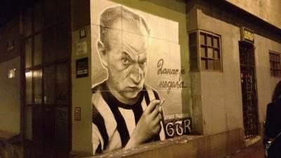 mural,partizan,duško radović,crno-beli
