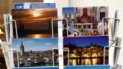 Švajcarska, Cirih, razglednice, turisti