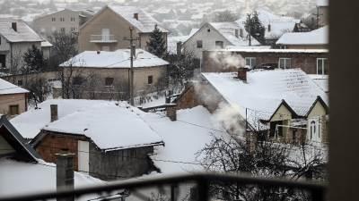 sneg, zima, grejanje, dim, dimnjak, kuće, kuća, loženje