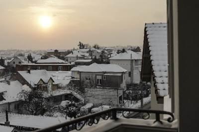 sneg, zima, sunce, zora