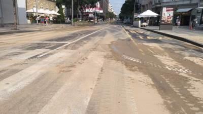 ulica, blato, radovi na putu, bara