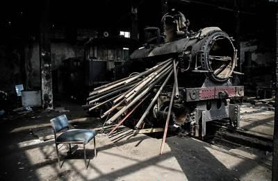 ložionica, vandali, lokomotiva voz vozovi železnica
