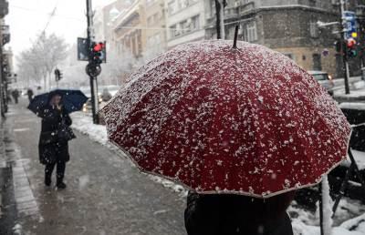 kišobran, sneg, zima, nevreme, mećava,