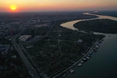 beograd, sumrak, dron, noć, brankov most, sava